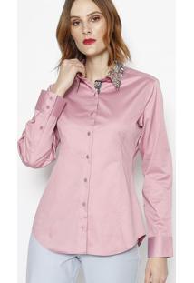 Camisa Com Botãµes & Recortes- Rosa & Amareladbz Jeans