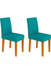 Conjunto Com 2 Cadeiras Giovana Ipê E Turquesa