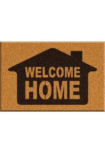 Capacho De Vinil Welcome Home Amarelo Único Love Decor