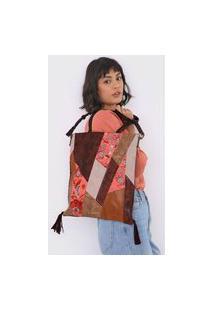 Bolsa Desigual Shopping Bag Big Japan Patch Marrom/Bege