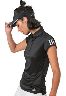Camisa Polo Adidas Performance Club 3 Stripes Preta - Preto - Feminino - Dafiti