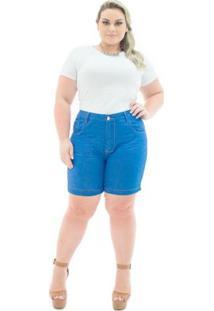 Shorts Confidencial Extra Jeans Missy Médio Com Lycra Plus Size Feminino - Feminino-Azul
