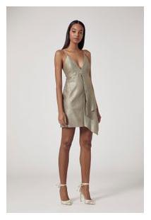 Vestido De Couro Curto Metalizado Prata Metalizado