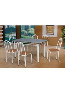 Conjunto De Mesa Sara Com 6 Cadeiras Branco E Rattan