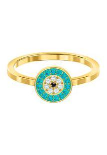 Anel Luckily Banhado À Ouro- Dourado & Azul Claro- Tswarovski