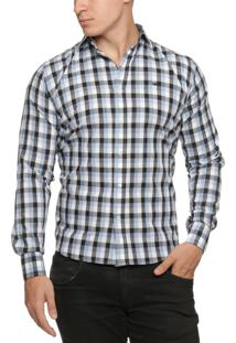 Camisa Alfaiataria Burguesia Quadriculada Azul E Preto