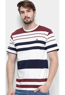 Camiseta Aleatory Listrada Masculina - Masculino-Branco+Vinho