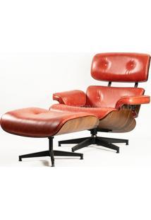 Poltrona E Puff Charles Eames Imbuia - Couro Envelhecido Vermelho