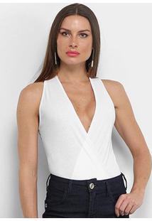 Body Aura Frente Única Canelado - Feminino-Branco