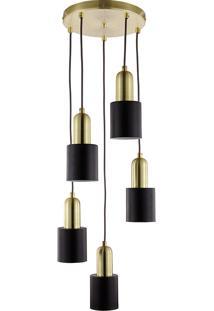 Lustre Com 5 Pendentes Em Metal 6520 - Mart - Dourado