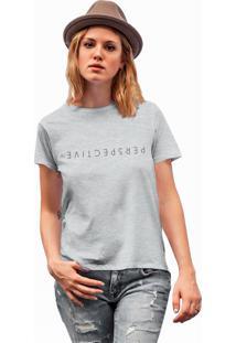 Camiseta Básica Feminina Joss Perspective Cinza - Kanui