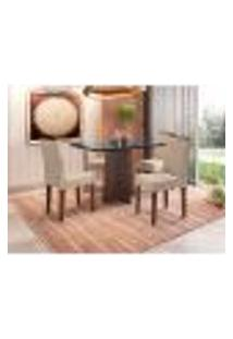 Conjunto De Mesa De Jantar Com Tampo De Vidro Ana E 4 Cadeiras Amanda Veludo Linho Preto E Creme