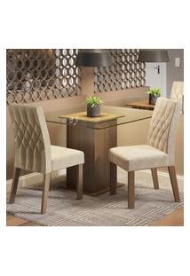 Conjunto Sala De Jantar Madesa Tati Mesa Tampo De Vidro Com 2 Cadeiras Marrom