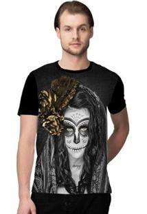 Camiseta Stompy Santa Muerte Masculino - Masculino-Preto+Dourado