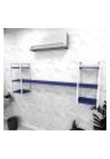 Estante Industrial Escritório Aço Cor Branco 180X30X68Cm (C)X(L)X(A) Cor Mdf Azul Modelo Ind26Azes