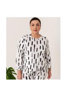 Blusa Em Moletom Estampa Pinceladas Comfy Curve & Plus Size | Ashua Curve E Plus Size | Branco | Eg