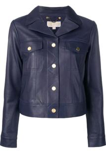 Michael Michael Kors Short Leather Jacket - Azul