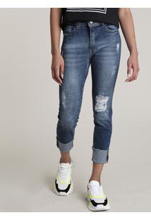 Calça Jeans Feminina Cropped Cintura Alta Destroyed Com Barra Dobrada Azul Escuro