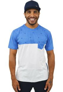 Camiseta Rozz Recortada - Masculino-Branco+Azul