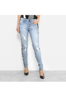 Calça Jeans Skinny Morena Rosa Base Isabelli Cintura Média Feminina - Feminino