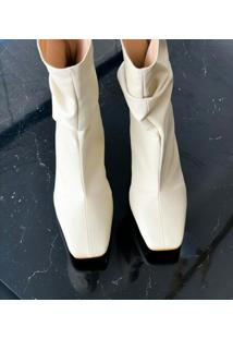 Bota Slouch Amisty Material Sintético Off White
