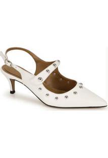 Sapato Scarpin Cesaretti De Couro Branco
