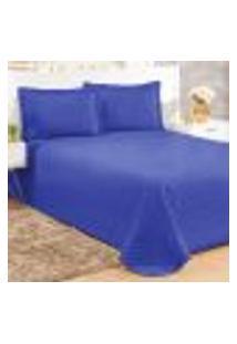 Conjunto Cobreleito Casal Com 2 Fronhas Clean Azul