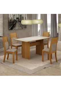 Conjunto De Mesa De Jantar Florença I Com 4 Cadeiras Havaí Suede Off White E Bege