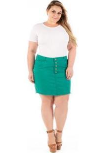 Saia Jeans Munich Com Elastano E Botões Plus Size - Feminino-Verde
