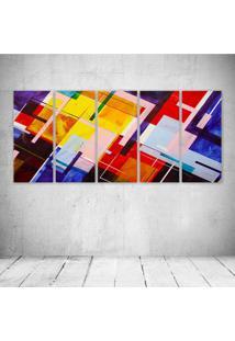 Quadro Decorativo - Abstract Lines - Composto De 5 Quadros - Multicolorido - Dafiti