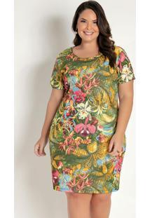 Vestido Curto Floral Acinturado Plus Size