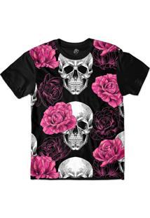 Camiseta Bsc Skull Pink Rose Sublimada Preto