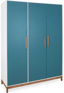 Roupeiro Casal Guarda-Roupa Mdf 3 Portas Branco Azul E Madeira Maciça Moderno Moore - 154,6X53X198,5 Cm