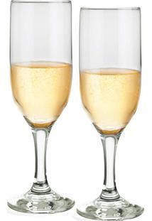 Conjunto De Taças Champagne 180Ml 2 Peças - Ruvolo - Transparente