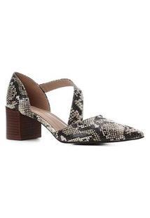 Scarpin Couro Shoestock Salto Bloco Cobra Lorena