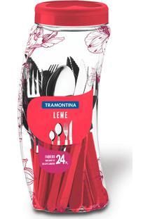 Faqueiro Inox 24 Peças Leme Vermelho - Tramontina - Vermelho