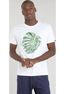 Camiseta Masculina Blueman Com Estampa Folha Manga Curta Gola Careca Branca