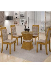 Mesa De Jantar Vitória 100Cm + 4 Cadeiras Rubi Tecido 84B - Ypê