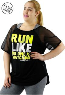 Camiseta Movimento E Cia Plus Size Preto