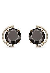 Brinco Ouro Amarelo Quartzo Negro E Diamantes Menor