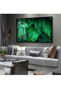 Quadro 60X90Cm Monstera Árvore Folhagem Verde Moldura E Vidro Cristal