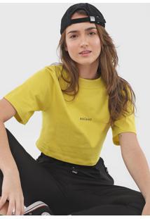 Camiseta Cropped Colcci Lettering Amarela - Kanui