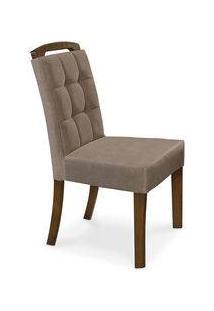 Cadeira De Jantar Estofada, Pé Amêndoa, Veludo Marrom, Zeus