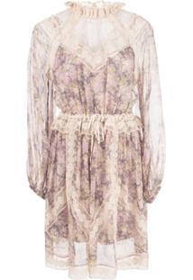 Zimmermann Vestido Com Estampa Floral - Roxo