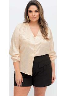 Blusa Estampada Almaria Plus Size Pianeta Decote V