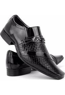 Sapato Social Envernizado Venetto - Masculino-Preto