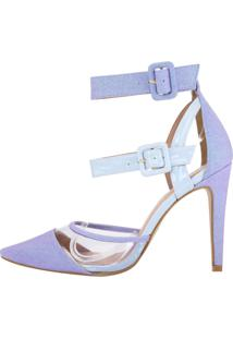 Scarpin Salto Alto Week Shoes Glittler Lilas