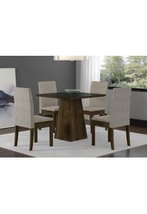 Conjunto Mesa De Jantar Com 4 Cadeiras Cristal Sonetto Tampo De Vidro 90X90Cm - Rústico/Suede Pena/P