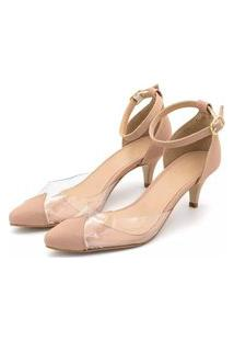 Sapato Scarpin Abotoar Anna Andrade Sandália Salto Baixo Nude