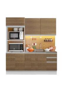 Cozinha Compacta Madesa 100% Mdf Acordes Glamy 2 Gavetas 8 Portas Rustic/Branco